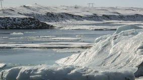 Zeitspanne von Eisblöcken an der Gletscherlagune Jokulsarlon, Island stock video