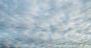 Zeitspanneclip von weißen grauen flaumigen gelockten rollenden Wolken stock footage