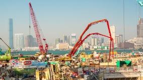 Zeitspanneporzellan des Sonnenuntergangtages-Hong- Kongbuchtindustriebaupanoramas 4k
