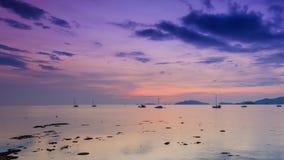 Zeitspannesonnenuntergang auf Meer von KOH lipe Insel, Thailand stock video