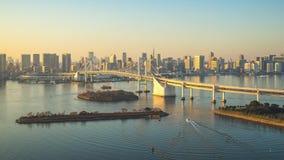 Zeitspannevideo von Skylinen Tokyos Bay-City in Tokyo, Japan stock video