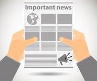 Zeitung in den Händen Wichtige Nachrichten herein gelesen einer Zeitung Vektor I Lizenzfreie Abbildung