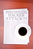 Zeitung HACKER-ANGRIFF Lizenzfreie Stockfotografie