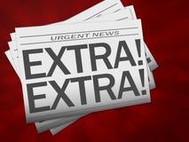 Zeitung mit Extratext Stockbilder