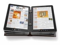 Zeitung oder Zeitschrift vom Tablette-PC. Lizenzfreies Stockbild