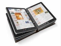 Zeitung oder Zeitschrift vom Tablette-PC Stockfoto