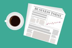Zeitung, Teeschale, leeres Papier und Stift mit Taschenrechner lizenzfreie abbildung