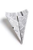 Zeitungs-Flugzeug lizenzfreie stockfotografie