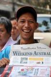 Zeitungs-Verkäufer, Ho Chi Minh Stadt, Vietnam Lizenzfreie Stockbilder