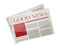 Zeitungsabbildungauslegung der guten Nachrichten stock abbildung