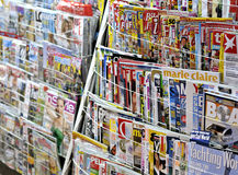 Zeitungsstandplatz Stockbild