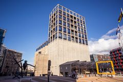 Zeitz Mocaa contempory art building. Cape Town, South Africa, 12th April - 2019: Exterior of contemporary art building. The building was converted out of old stock photos