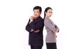 Zeker, succesvol paar van hoogste leidingteam, werkgever met Royalty-vrije Stock Foto's