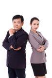 Zeker, succesvol paar van hoogste leidingteam, werkgever met Stock Fotografie