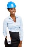Zekere Afrikaanse Amerikaanse vrouwenarchitect die witte achtergrond glimlachen stock foto's