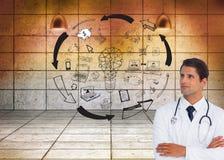 Zekere arts met gekruiste wapens omhoog het kijken Stock Fotografie