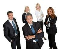 Zekere bedrijfsleider met zijn team Stock Fotografie