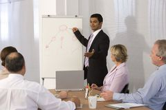 Zekere bedrijfsmens die presentatie geeft. Stock Afbeeldingen