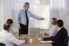Zekere bedrijfsmens die presentatie geeft. Stock Foto's