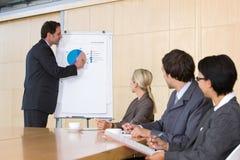 Zekere bedrijfsmens die presentatie geeft aan coll Royalty-vrije Stock Afbeeldingen