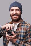 Zekere fotograaf stock fotografie