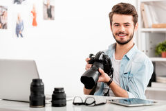 Zekere fotograaf stock foto