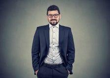 Zekere glimlachende onafhankelijke bedrijfsmens stock foto