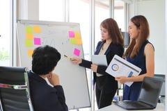 Zekere jonge Aziatische bedrijfsvrouw die strategieën op tikgrafiek verklaren aan stafmedewerker in bestuurskamer stock afbeelding