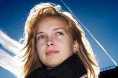 Zekere jonge vrouw royalty-vrije stock foto's