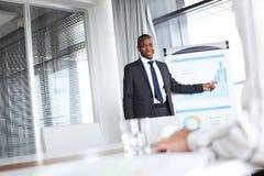 Zekere jonge zakenman die naar grafiek richten terwijl het geven van presentatie in bureau Royalty-vrije Stock Foto's