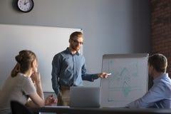 Zekere mannelijke leiders of bedrijfsbus die presentatie geven aan c stock foto