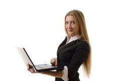 Zekere Onderneemster die Geïsoleerdg Laptop met behulp van - Stock Fotografie