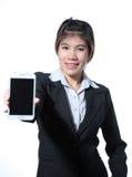 Zekere slimme de tabletcomputer van de bedrijfsvrouwenholding Stock Foto's