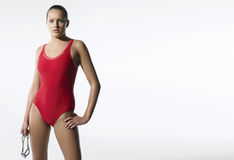 Zekere Vrouwelijke Zwemmer Stock Foto