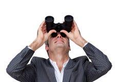 Zekere zakenman die aan de toekomst kijkt Stock Afbeeldingen