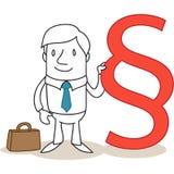 Zekere zakenman met reusachtige paragraaf Stock Fotografie