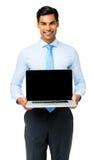 Zekere Zakenman Showing Laptop royalty-vrije stock afbeelding