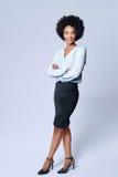 Zekere zwarte Afrikaanse bedrijfsvrouw stock afbeelding