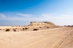 Zekreet沙漠,卡塔尔 免版税库存照片