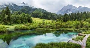 Zelenci damm nära Kranjska Gora i den Triglav nationalparken fotografering för bildbyråer
