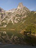 Zelene pleso with Jastrabia veza and other peaks. Zelene pleso lake with Jastrabia veza and other peaks in Vysoke Tatry Stock Images