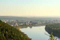 Zelenogorsk y el río Kan Foto de archivo libre de regalías