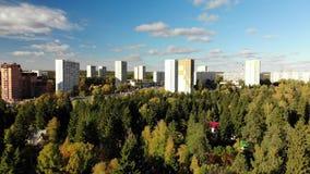 Zelenograd är det ekologiskt rena området av Moskva i Ryssland stock video