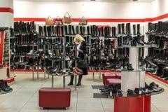 Zelenograd, Ρωσία - 20 Φεβρουαρίου 2016 Εσωτερικό κατάστημα παπουτσιών Calipso Στοκ εικόνες με δικαίωμα ελεύθερης χρήσης