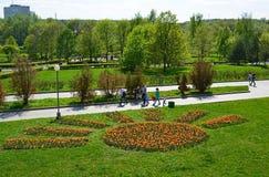 Zelenograd, Россия - 9-ое мая 2016 Прогулка людей в парке победы весной Стоковое Изображение