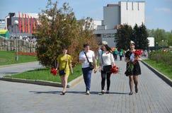 Zelenograd, Rússia - 9 de maio 2016 Comemorando o dia da vitória no quadrado central Fotos de Stock Royalty Free