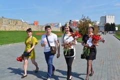 Zelenograd, Rússia - 9 de maio 2016 Comemorando o dia da vitória no quadrado central Imagens de Stock