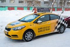Zelenograd Rosja, Styczeń, - 24 2016 Miasta żółty taxi outdoors Zdjęcie Royalty Free