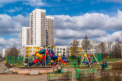Zelenograd, Russia - April 11.2016. View of playground in  residential area Royalty Free Stock Images