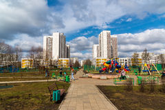 Zelenograd, Russia - April 11.2016. View of playground in  residential area Royalty Free Stock Photo